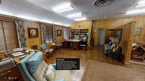 Screenshot from the virtual tour shows President Johnson's office. A callout box describes a pillow.