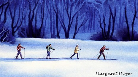 Wintry Woods Watercolor by Margaret Dwyer