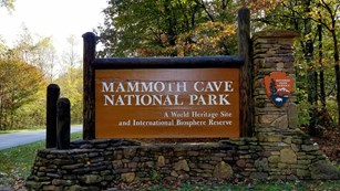 A brown entrance sign to the national park