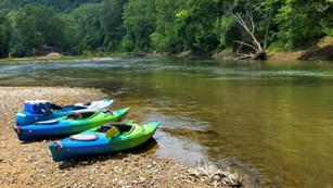 Three canoes await adventure on the Green River.
