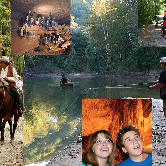 Collage of images: horseback riding, canoeing, fishing, bike riding, people visiting the cave.