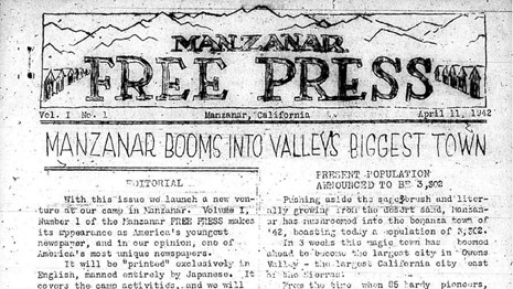 1942 Front page of Manzanar Free Press Newspaper