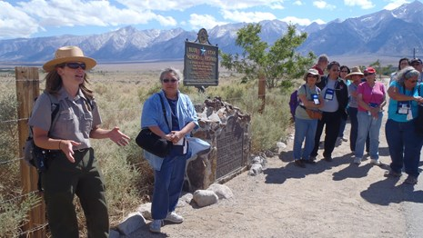 Visitors with a ranger on a tour