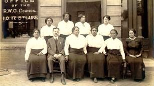 Independent Order of St. Luke Matrons outside St. Luke Hall