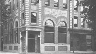 The St. Luke Penny Savings Bank building, a 3 story brick building in the mid-1920's