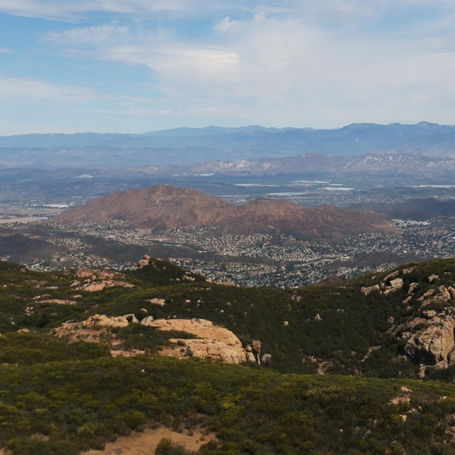 Mountaintop view of the meeting of natural and urban areas in the Santa Monica Mountains