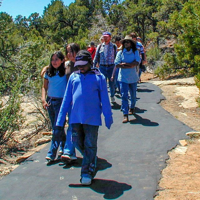 Students and teachers on a hike
