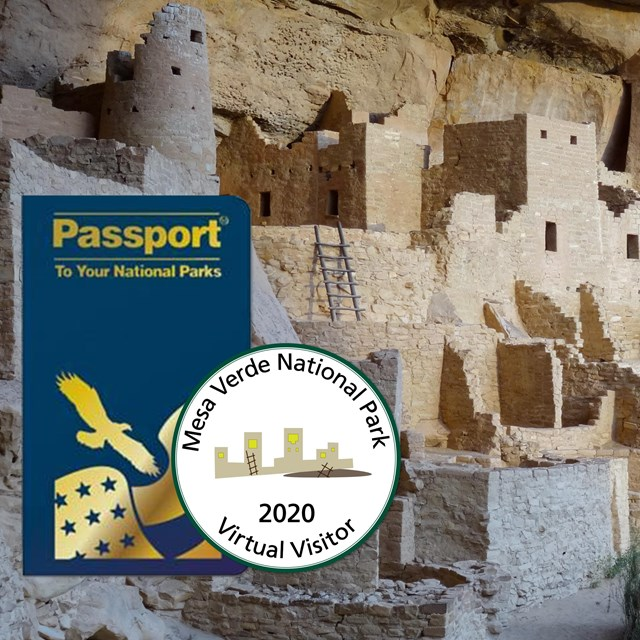 Blue passport book and colorful circle stamp with a ancient stone-masonry village in background.
