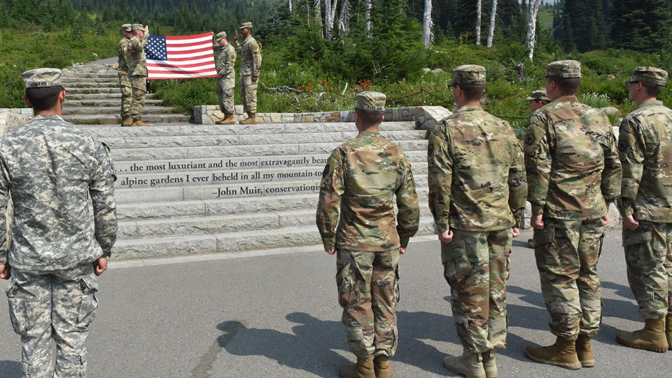 Members of the U.S. Army attend a reenlistment ceremony.