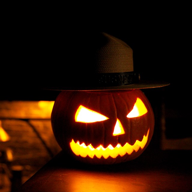 Jack o lantern wearing a park ranger hat in a dark room. Glowing orange fireplace in the background.