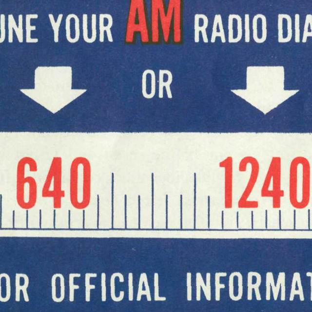 Radio message advertisement in blue and red