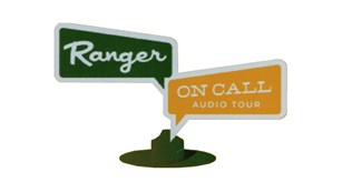 The Ranger on Call logo consisting of a park ranger hat and signpost.