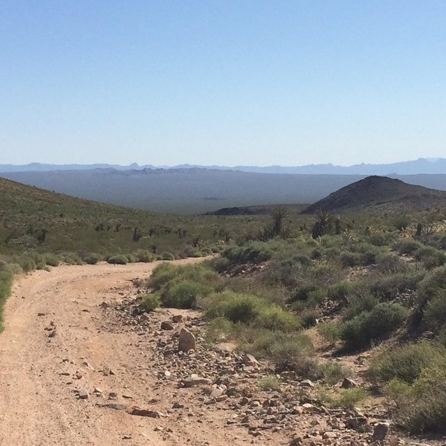 The Mojave Road, lined with creosote, going downhill. Hills and mountains in the distance.