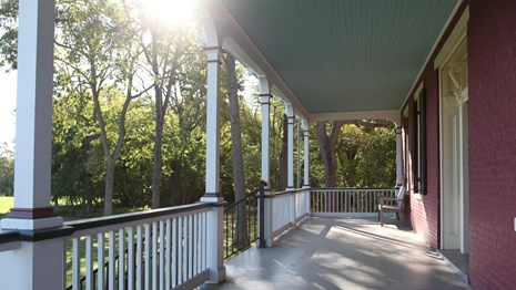 Sunlit porch at Worthington House