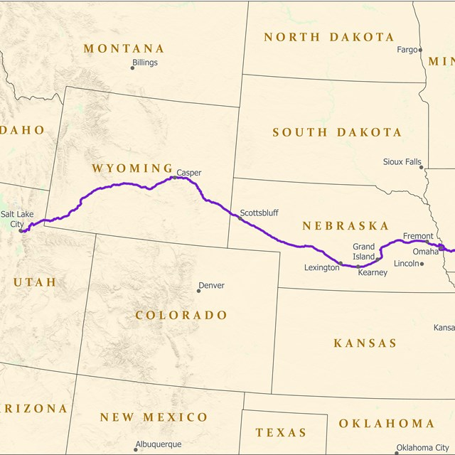 A map depicting a trail from Illinois to Salt Lake City.