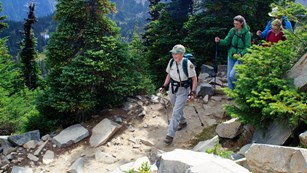 Volunteer meadow rover leads visitors along a subalpine trail.