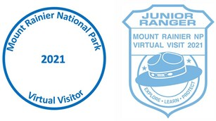 Two simple stamps, one circular, one in the shape of a badge, for Mount Rainier Virtual Visitors.