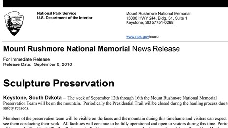 Image of a Mount Rushmore National Memorial news release.