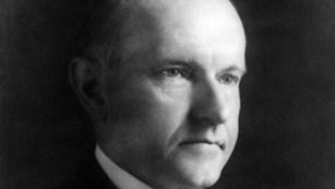 Black and white photo of Calvin Coolidge.