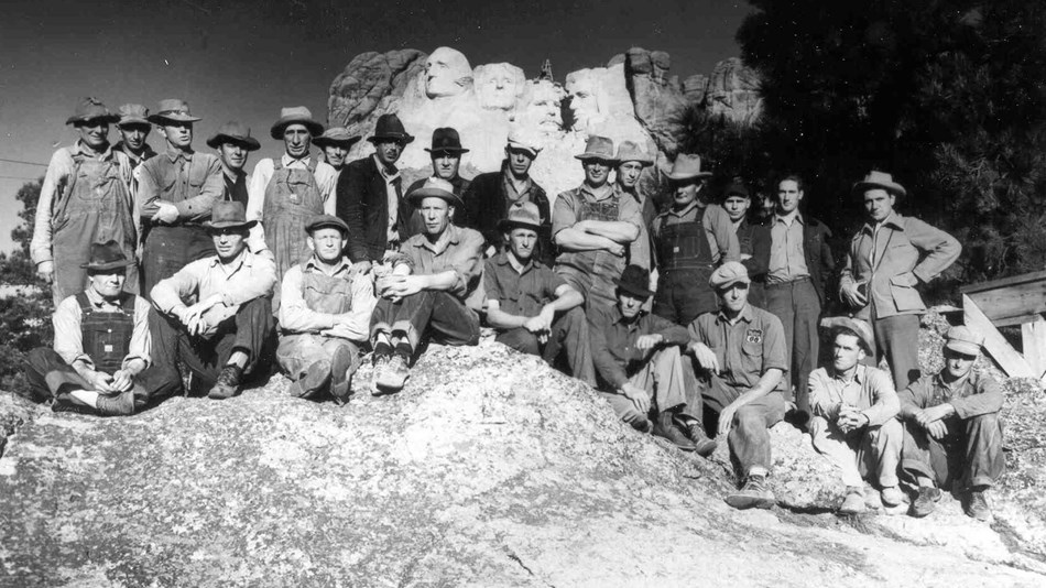 Photograph of the last work crew at Mount Rushmore in 1941.