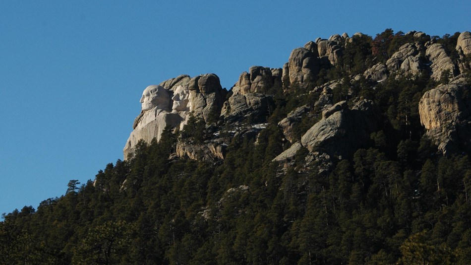 Photo of Mount Rushmore from the East side.