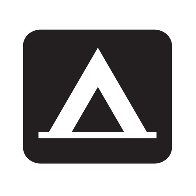 Camping map symbol with a tent.