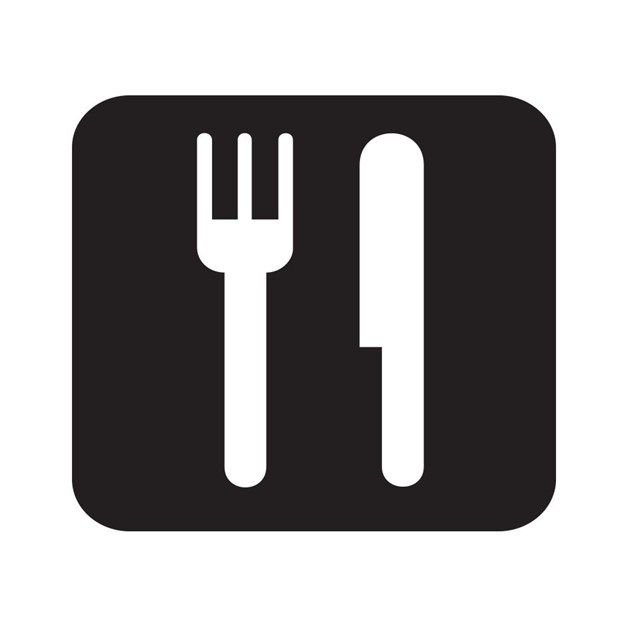 Restaurant map symbol with a knife and fork.