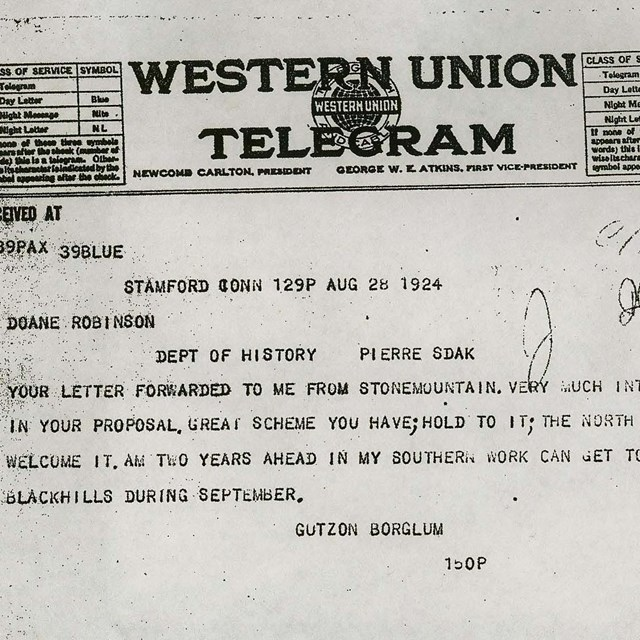 Scanned image of Gutzon Borglum's telegram reply to Doane Robinson.