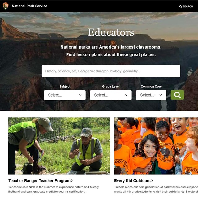 Image of the National Park Service education portal web site.