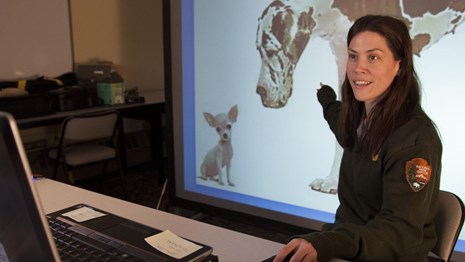 a park ranger points to a presentation about dogs while speaking to students on a computer