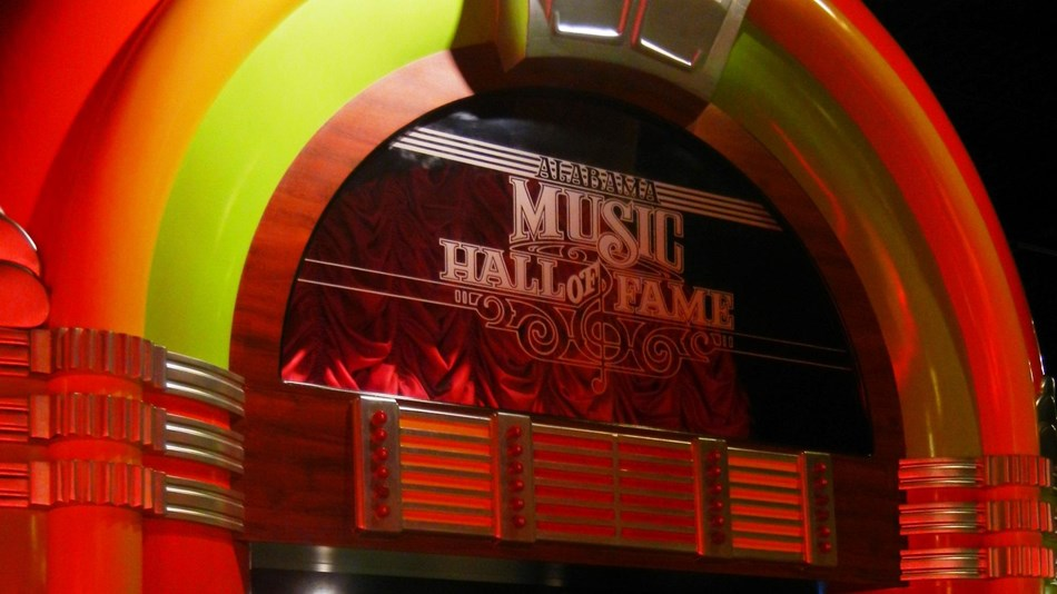 Entry way that looks like a jukebox in the Alabama Music Hall of Fame