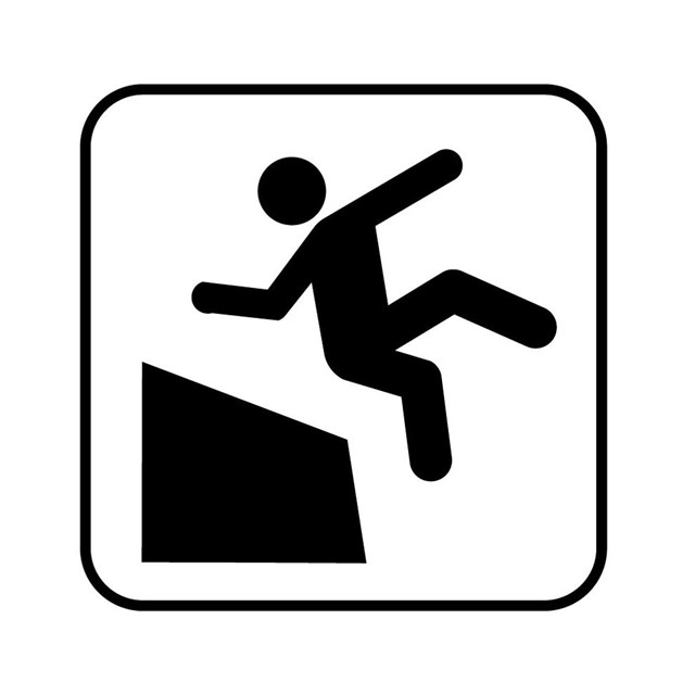 symbol of person falling off edge