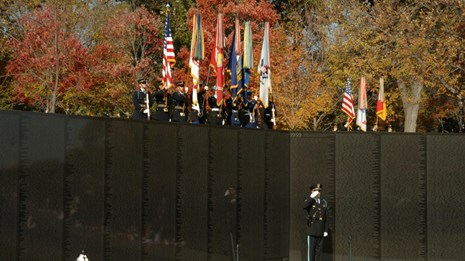 Veterans Day ceremony at Vietnam Veterans Memorial