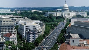 Aerial view of Pennsylvania Avenue looking toward the U.S. Capitol.