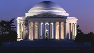 Night view of the exterior of the Jefferson Memorial.