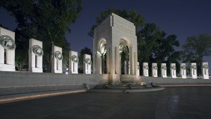 Atlantic Pavilion at the World War II Memorial after dark