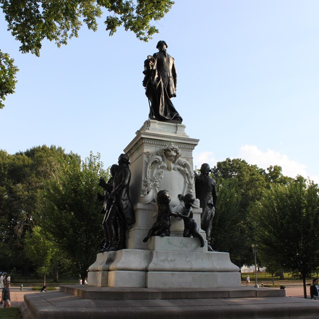 Statue of General Lafayette in a park