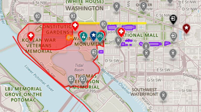 A map of the National Mall area for the Fourth of July