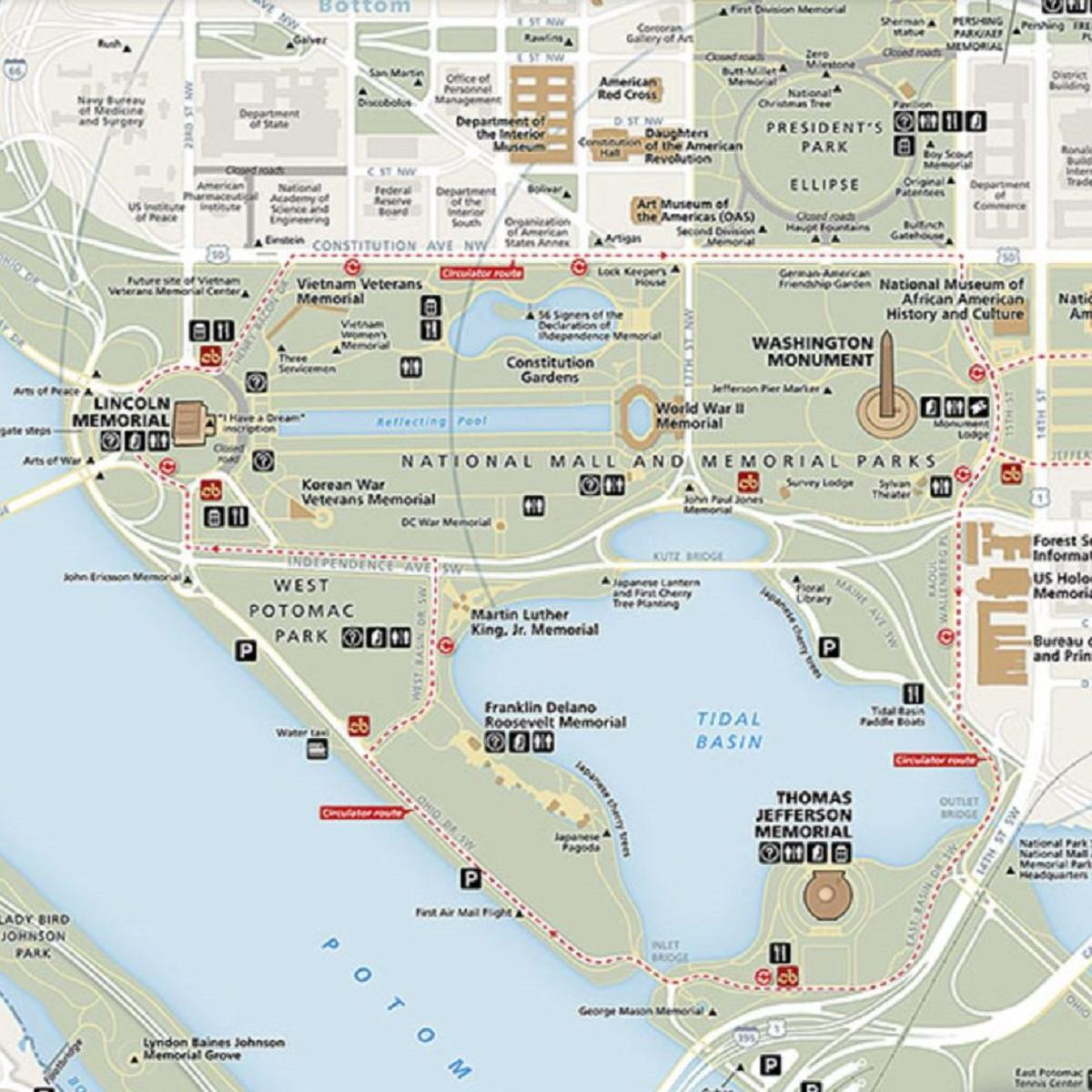 image relating to Printable Map of Washington Dc Mall called Maps - Washington, DC, Fourth of July Bash (U.S.