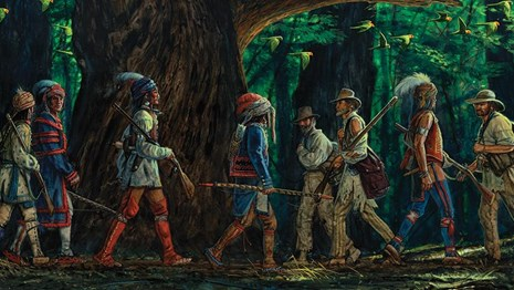 Painting of boatmen and American Indians walking past each other on the Natchez Trace.