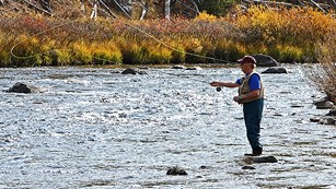 Fishing at Gardner River in Yellowstone National Park