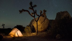 A tent illuminated under a starry sky
