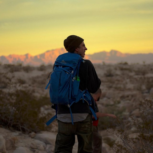 Backpacker in Joshua Tree wilderness
