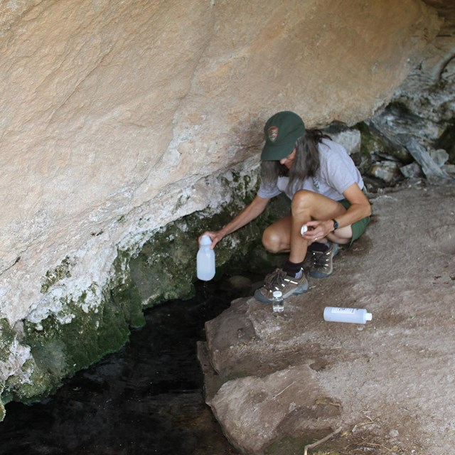 NPS employee crouches near spring with sampling bottle