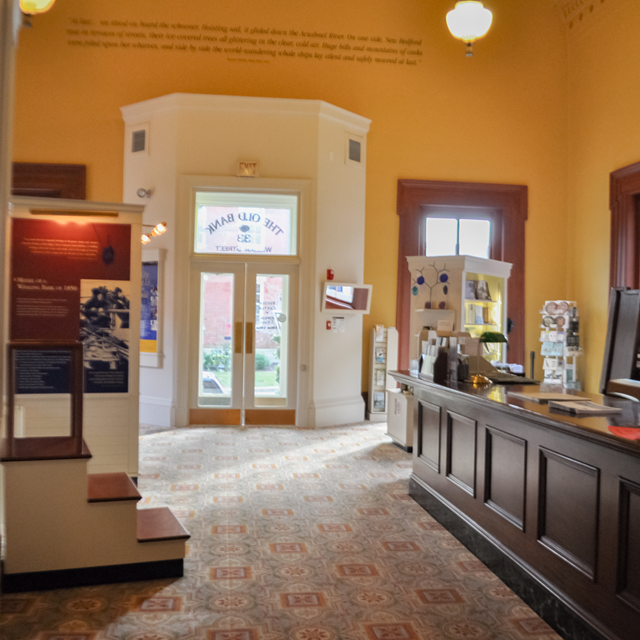 Interior view of the parks visitor center with exhibits