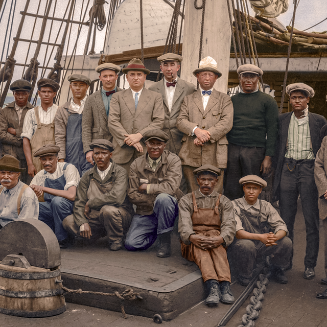Colorized image of the whaleship Wanderer Crew