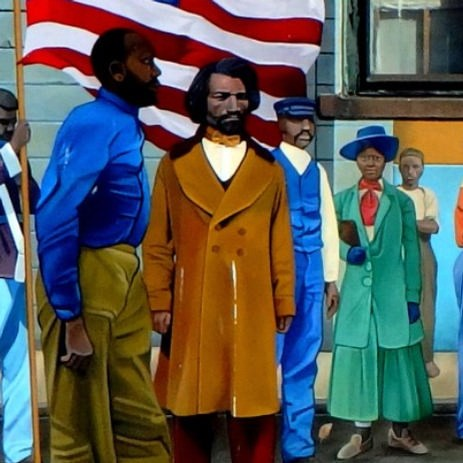 Mural depicts recruitment for the 54th regiment, while Frederick Douglass stands with flag bearer