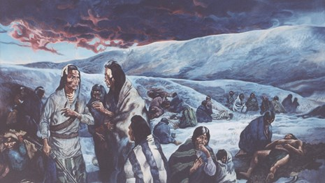 Painting of Nez Perce people in a snowy landscape with foreboding clouds.