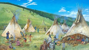 A painting that shows several tipis and Nez Perce men, women, and children.