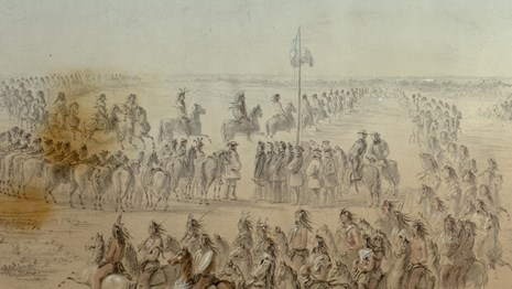 Watercolor painting depicting the arrival of the Nez Perce at Walla Walla Treaty May the 24, 1855.